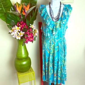 Ralph Lauren aqua sleeveless fit & flair dress XL